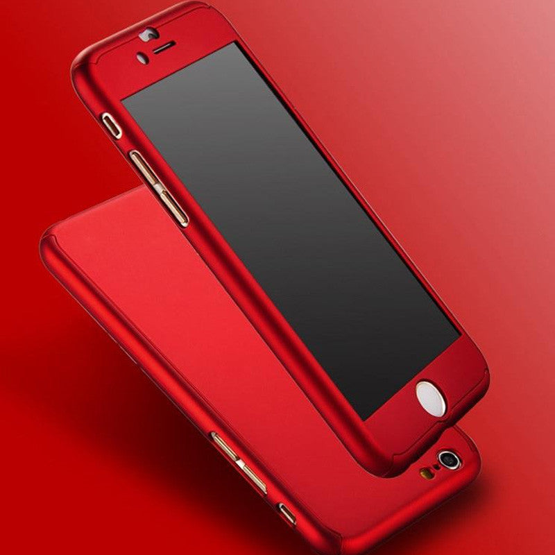Hard Ultra Thin Cover Phone Case + Tempered Glass, - cell phone accessories