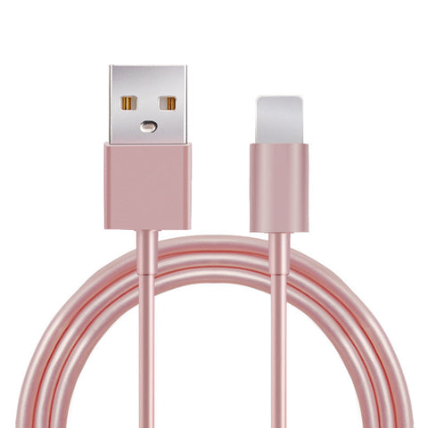 Metal Rose Gold Wire Charging USB Cable, - cell phone accessories