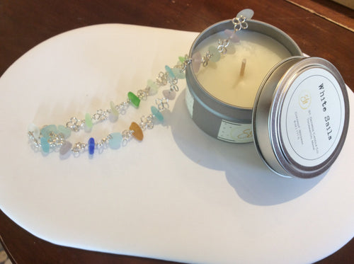 Seaglass Necklace & Candle Set
