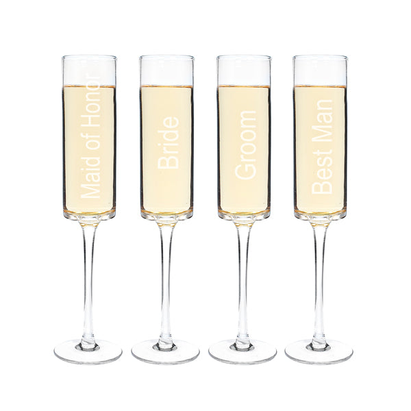 8 oz. Wedding Party Contemporary Champagne Flutes (Set of 4) - Spectacular Wedding Favor