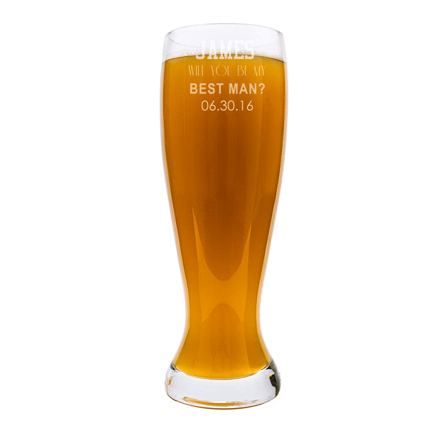 Personalized Will You Be My Best Man? 54 oz. XL Beer Pilsner Glass - Spectacular Wedding Favor