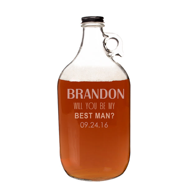 Personalized Will You Be My Groomsman? 64 oz. Craft Beer Growler - Spectacular Wedding Favor