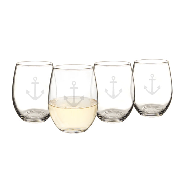 21 oz. Stemless Anchor Wine Glasses (Set of 4) - Spectacular Wedding Favor