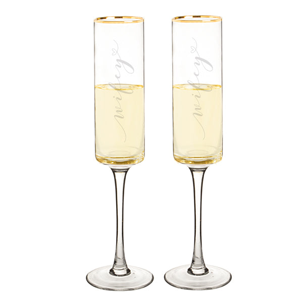 Wifey & Wifey 8 oz. Gold Rim Contemporary Champagne Flutes - Spectacular Wedding Favor