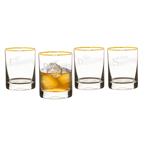 Old Fashioned Gold Rim Whiskey Glasses - Spectacular Wedding Favor