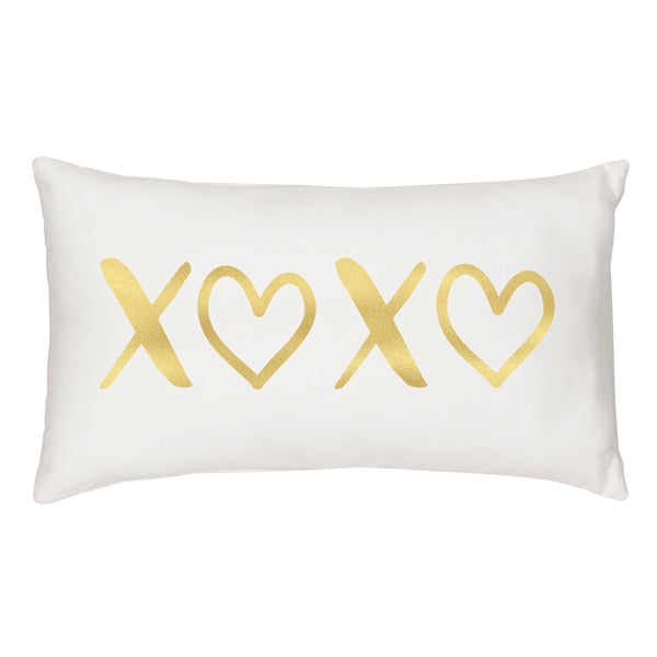 Gold Foil XOXO Lumbar Pillow - Spectacular Wedding Favor