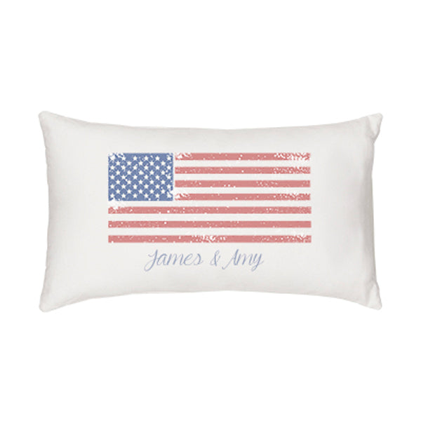Personalized American Flag Lumbar Pillow - Spectacular Wedding Favor
