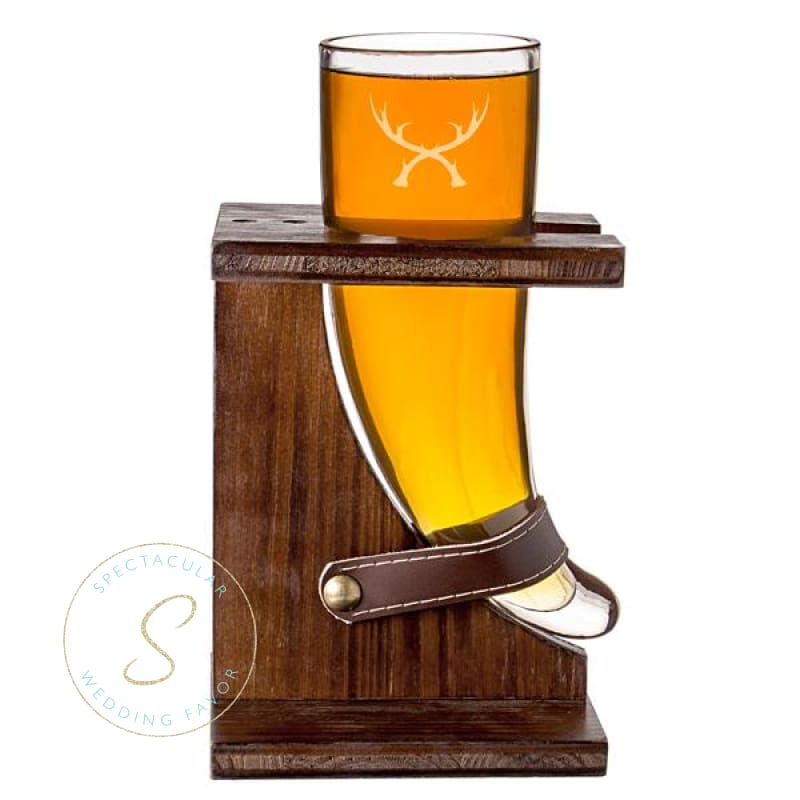 16 Oz. Glass Antlers Viking Beer Horn With Rustic Stand