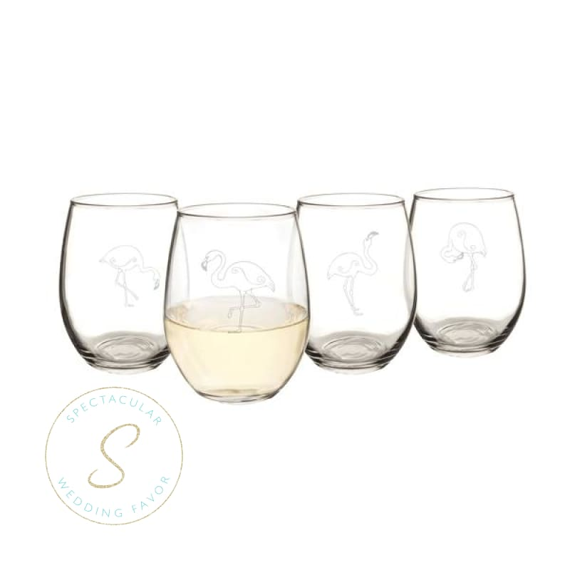 21 Oz. Flamingo Stemless Wine Glasses