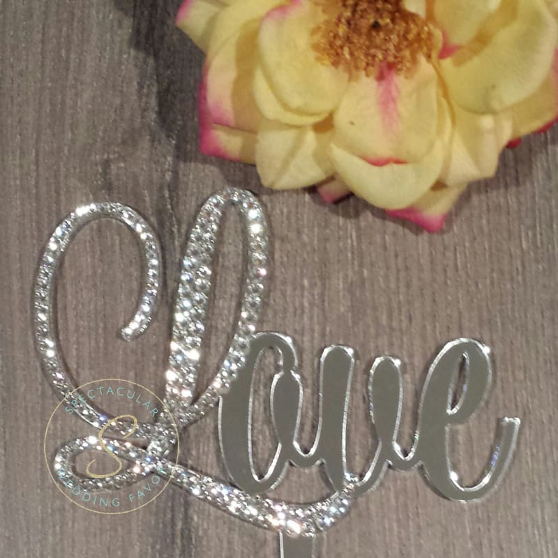 4 Tall Love Cake Topper Wedding Anniversary Cake Topper Swarovski Rhinestone
