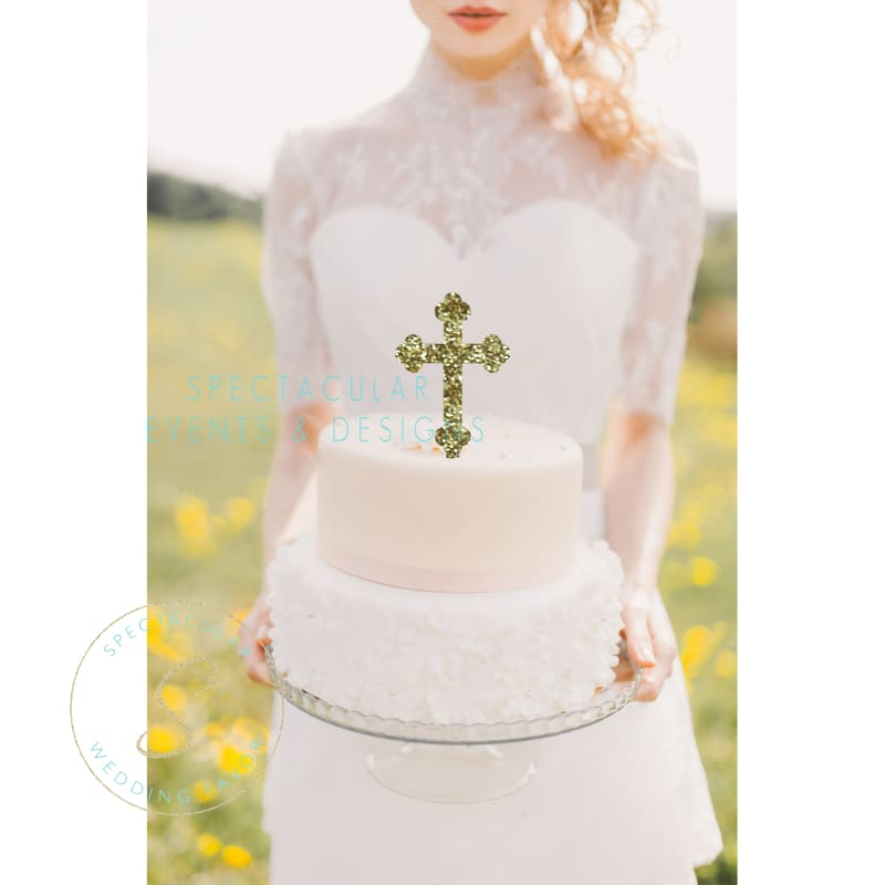 5 Tall Communion Confirmation Cross Glitter Acrylic Cake Topper Silver Mirror