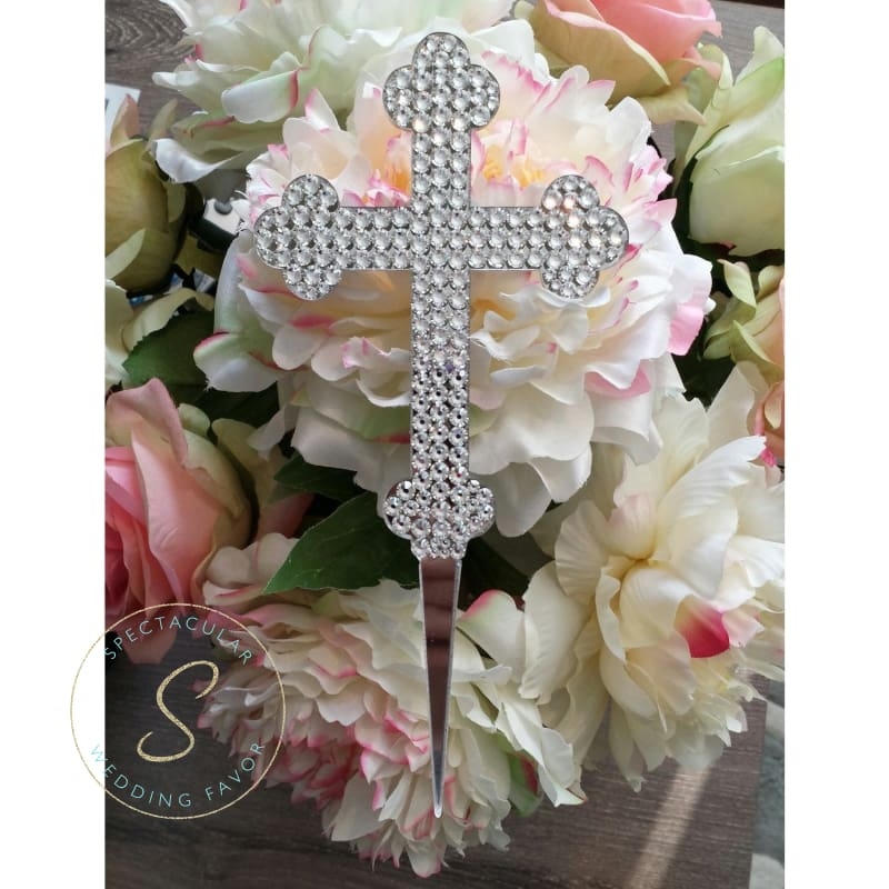 5 Tall Communion Confirmation Cross Swarovski Crystal Rhinestone Acrylic Cake Topper Silver Mirror