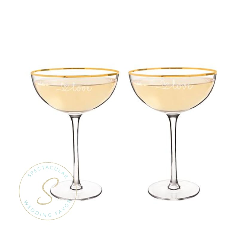 8 Oz. Gold Love Rim Coupe Flutes