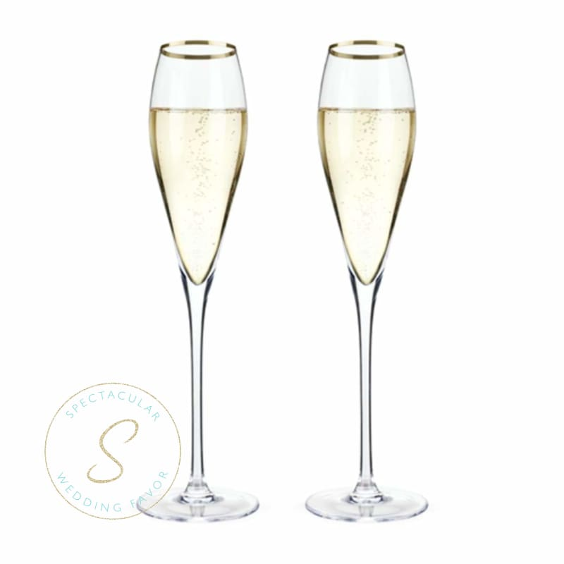 Belmont - Gold Rimmed Crystal Champagne Flutes (Set Of 2) - Wedding