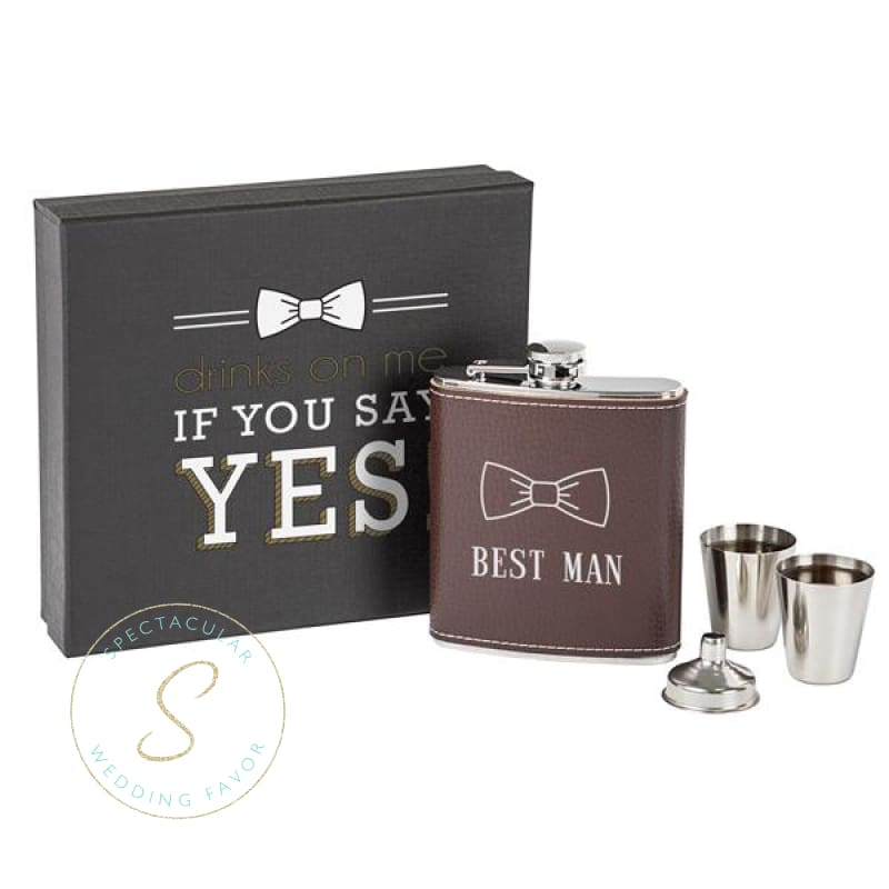 Best Man Leather Wrapped Flask Set Brown