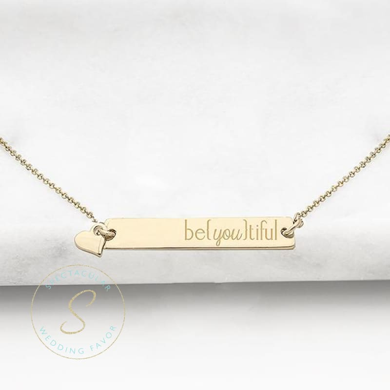 Be{You}Tiful Gold Or Silver Horizontal Bar Necklace