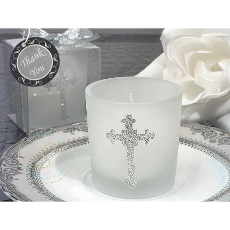 Blessed Events Cross Design Candle Holder Religious Favors