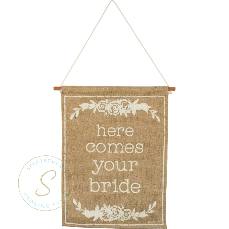 Burlap Here Comes Your Bride Sign