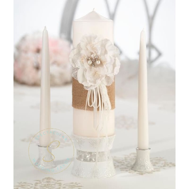 Burlap & Lace Candle Set Unity Candles Wedding Ceremony