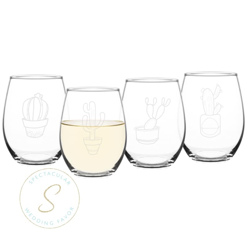 Cactus 21 Oz. Stemless Wine Glasses (Set Of 4)