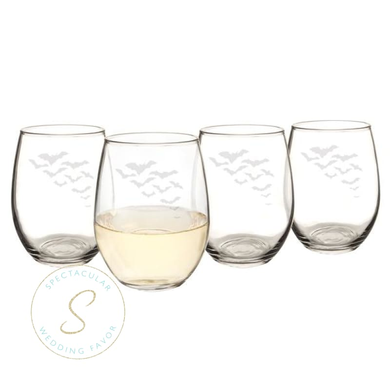 Colony Of Bats 21 Oz. Stemless Wine Glasses (Set Of 4)