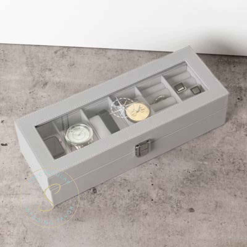 Compass Leatherette Watch & Jewelry Case Grey