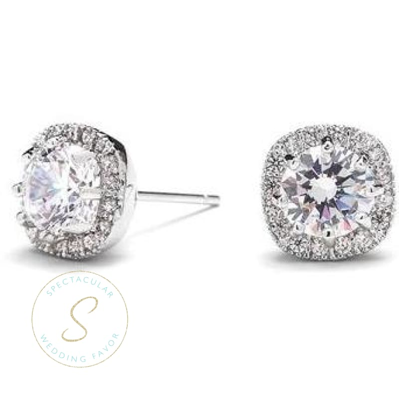 Cubic Zirconia Cushion Shape 10Mm Halo Stud Earrings With Round Cut Solitaire