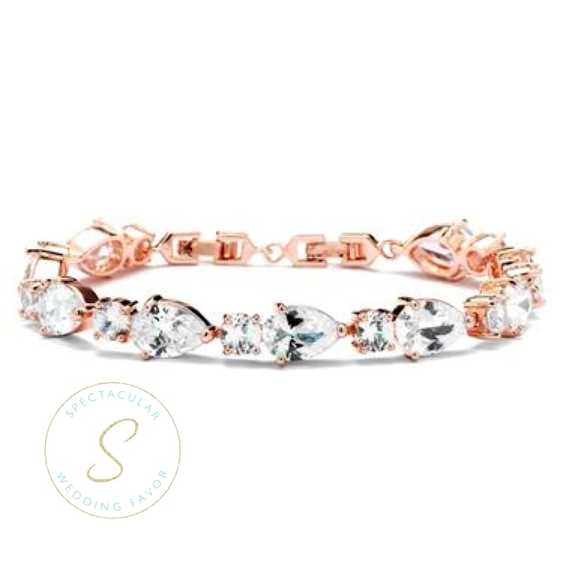 Cz Pears And Rounds Bridal Or Bridesmaids Rose Gold Bracelet