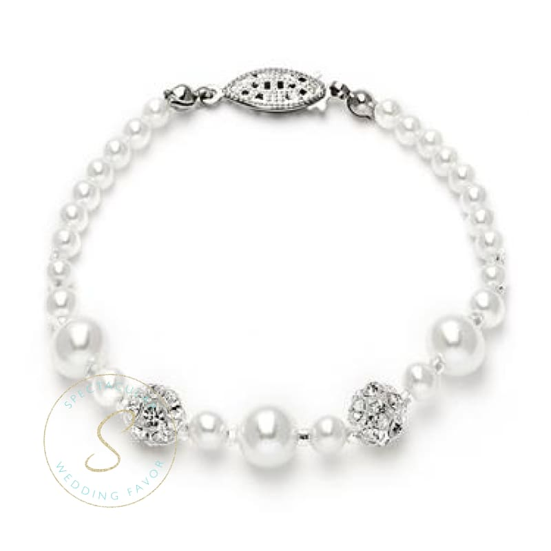 Dainty Wedding Bracelet With Pearls & Rhinestone Fireballs