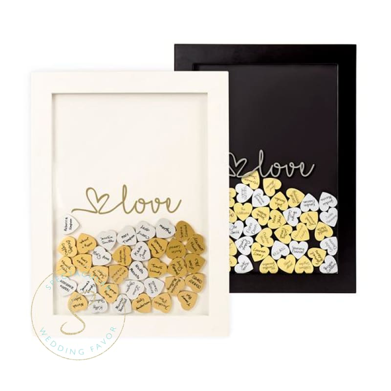Gold Love Heart Drop Guestbook White