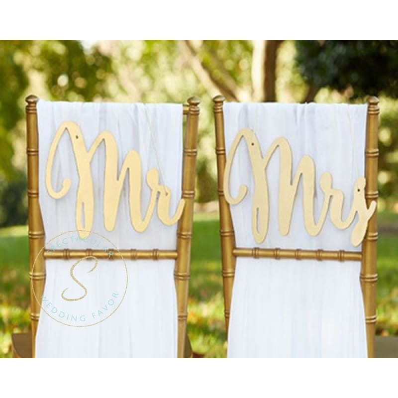 Gold Promises Classic Mr. & Mrs. Chair Backers