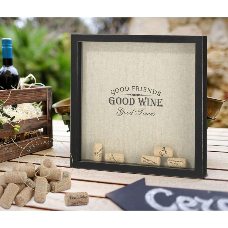 Good Friends Good Times Wine Cork Holder Frame
