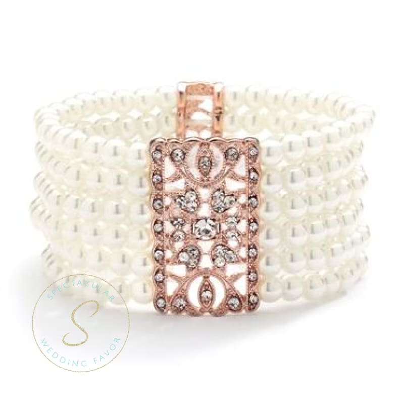 Ivory Pearl & Rose Gold Vintage Stretch Bracelet