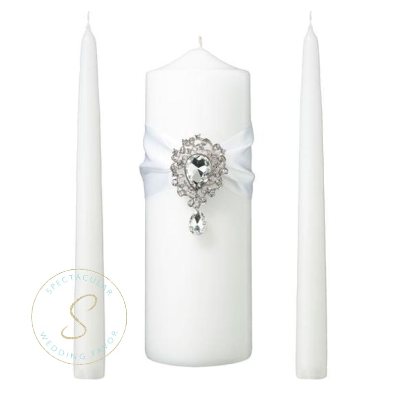 Jeweled White Unity Candle Wedding Ceremony Set