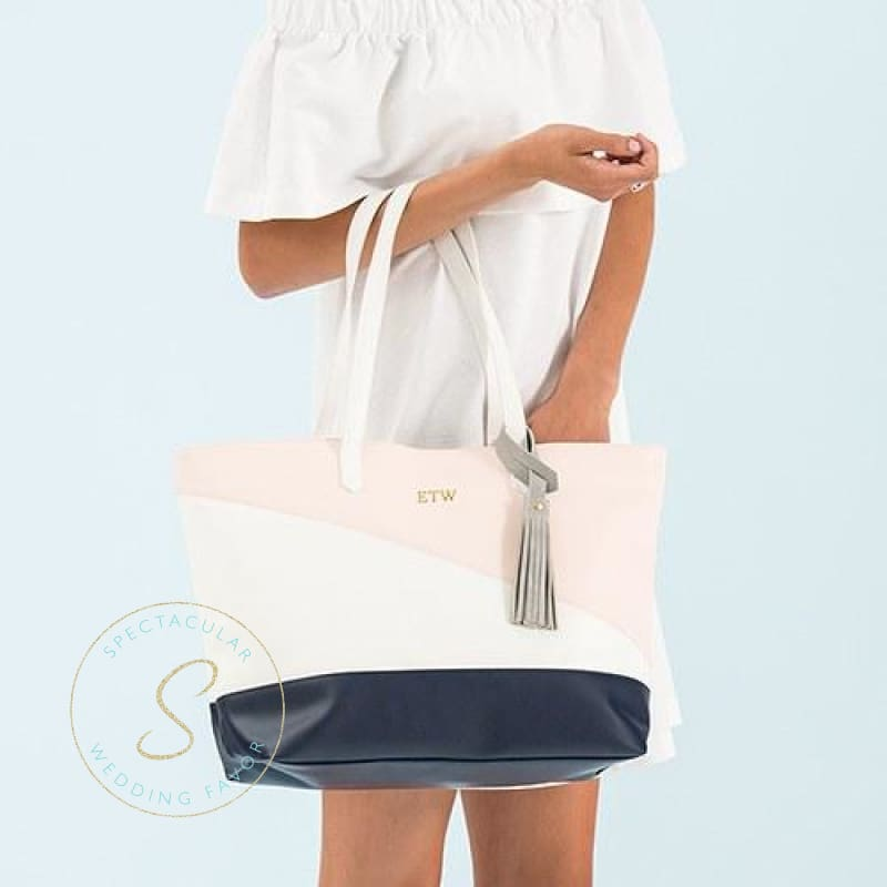Large Personalized Color Block Faux Leather Tote Bag- Navy Blue Blush Pink & White