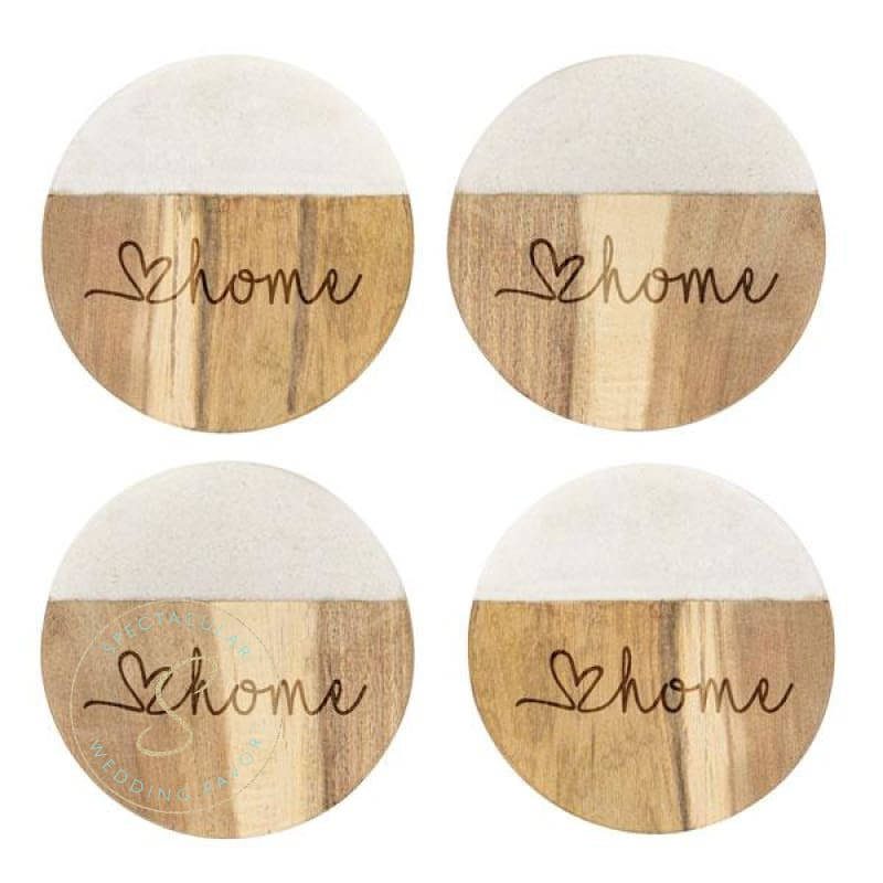 Love Home Marble & Acacia Wood Coasters Set Of 4