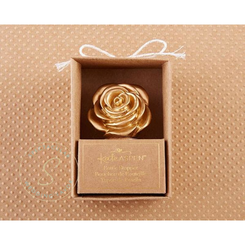 Metallic Gold Rose Bottle Stopper