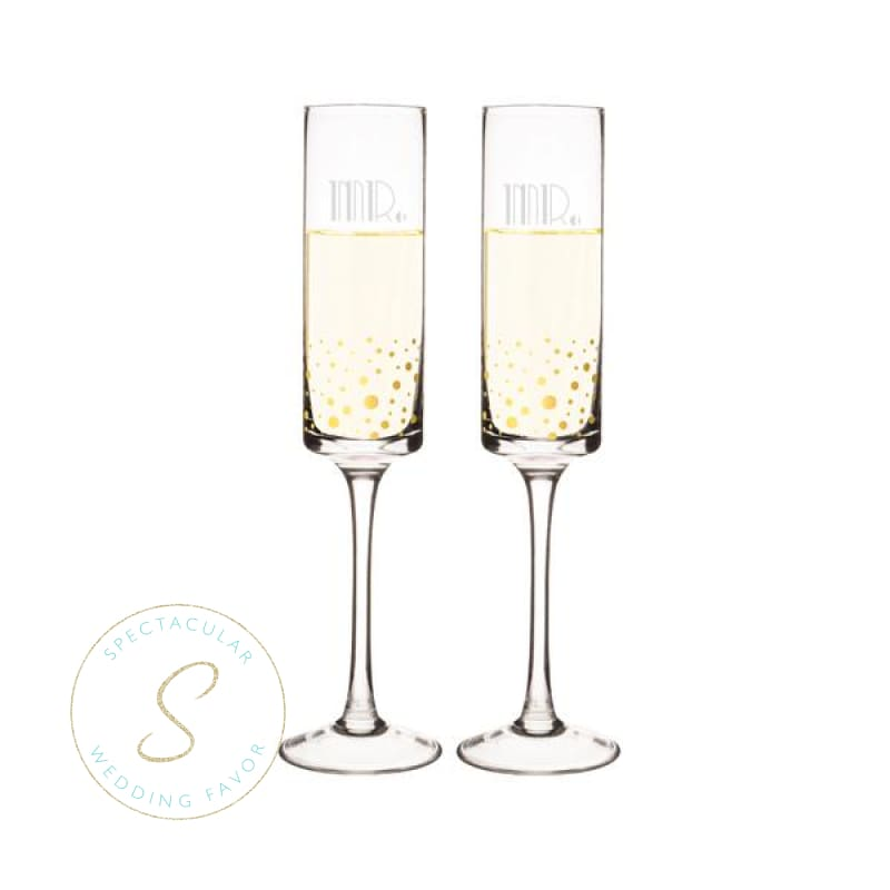 Mr. & Mr. 8 Oz. Gatsby Gold Dotted Contemporary Champagne Flutes
