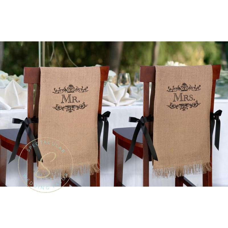 Mr. & Mrs. Rustic Burlap Chair Covers
