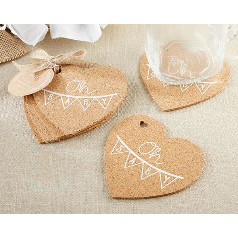 Wedding Favors Coaster.Oh Baby Heart Cork Coaster Set Of 4 Quantity Of 12