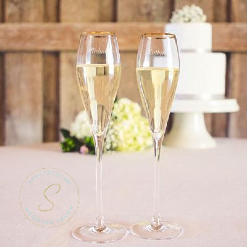 Personalized 7 Oz. Gold Or Silver Rim Champagne Flutes (Set Of 2)