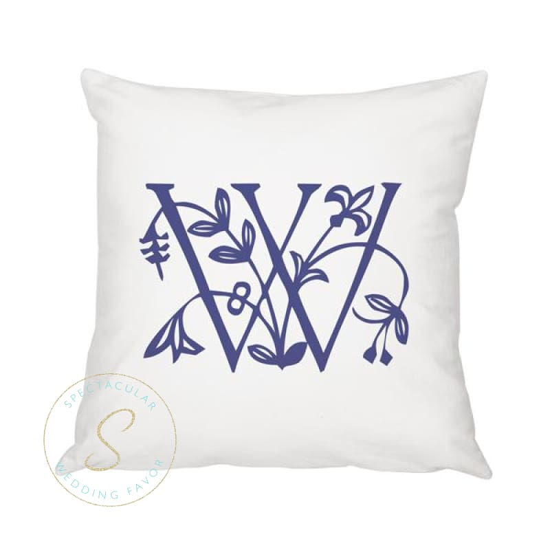 Personalized Floral Initial 16 Throw Pillow
