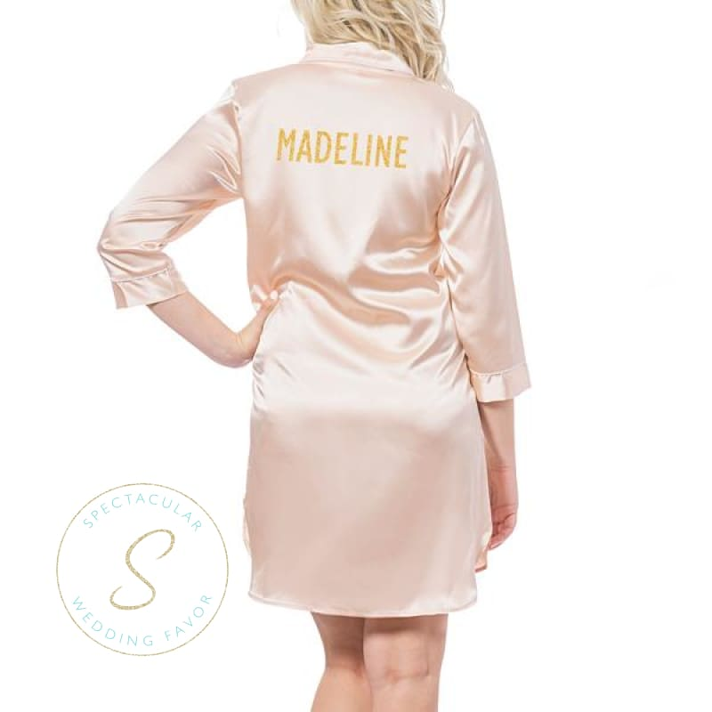 Personalized Glitter Script Satin Night Shirt