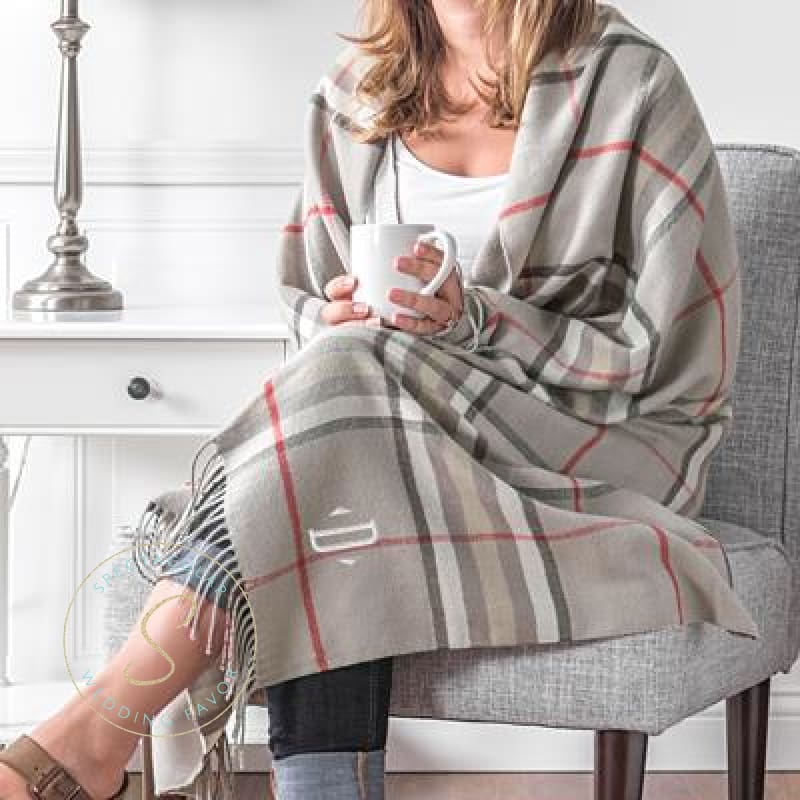 Personalized Grey Plaid Throw