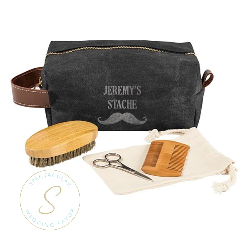 Personalized Groomsmen Waxed Canvas And Leather Dopp Kit With Beard Grooming Set