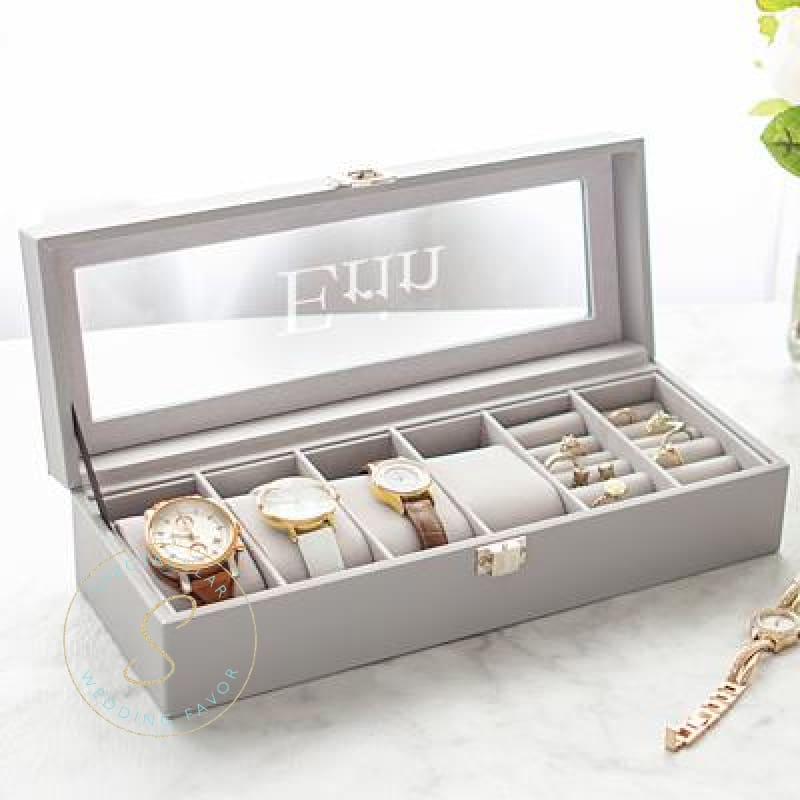Personalized Leatherette Watch & Jewelry Case