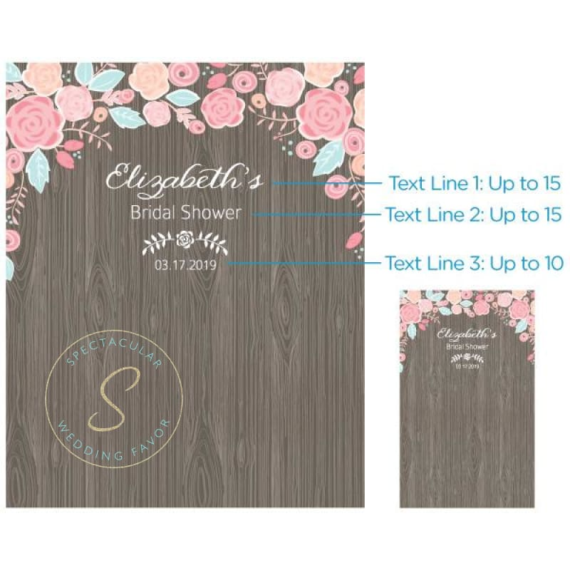 Personalized Photo Backdrop - Rustic Bridal Collection - Woodgrain