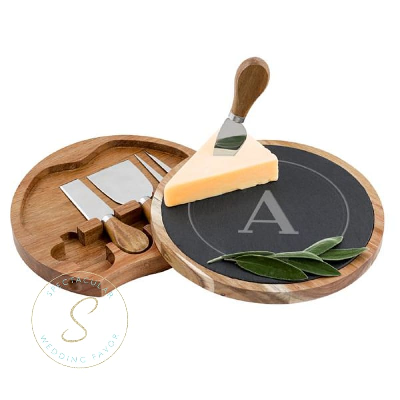 Personalized Slate And Acacia Cheese Board W. Utensils