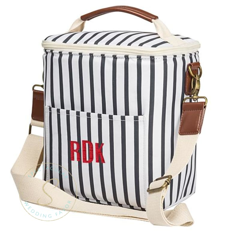 Personalized Striped Beer Or Lunch Cooler