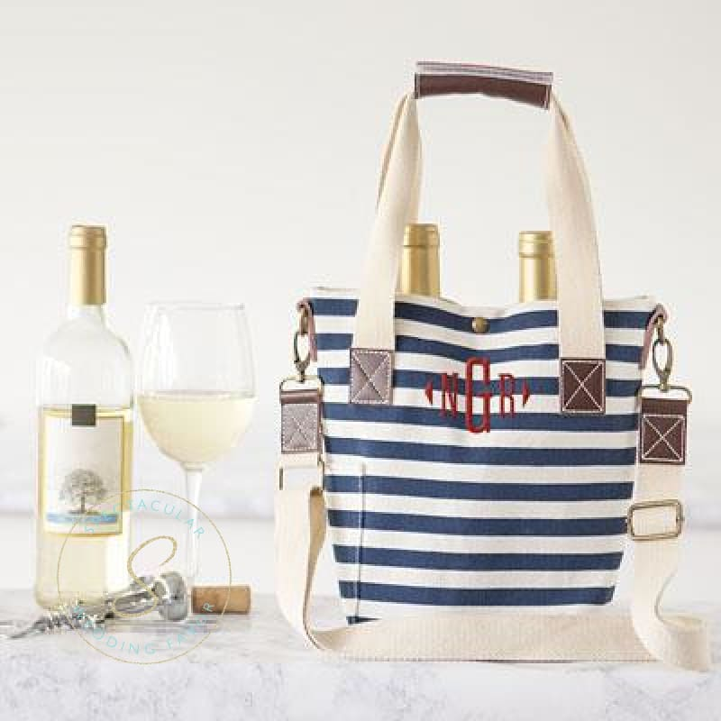 Personalized Striped Canvas Wine Tote